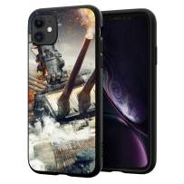 iPhone 11 Case, iPhone Case Accessories, Battleship Design, Proof Slim TPU + Tempered Glass Back Cover, Hard Shell Shockproof Protective Case Cover, for iPhone 11 6.1 inch, Black Gold