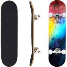 "Geelife Skateboard 7 Layers Decks 31""x8"" Pro Complete Skate Board Maple Wood Longboards for Teens Adults Beginners Girls Boys Kids"