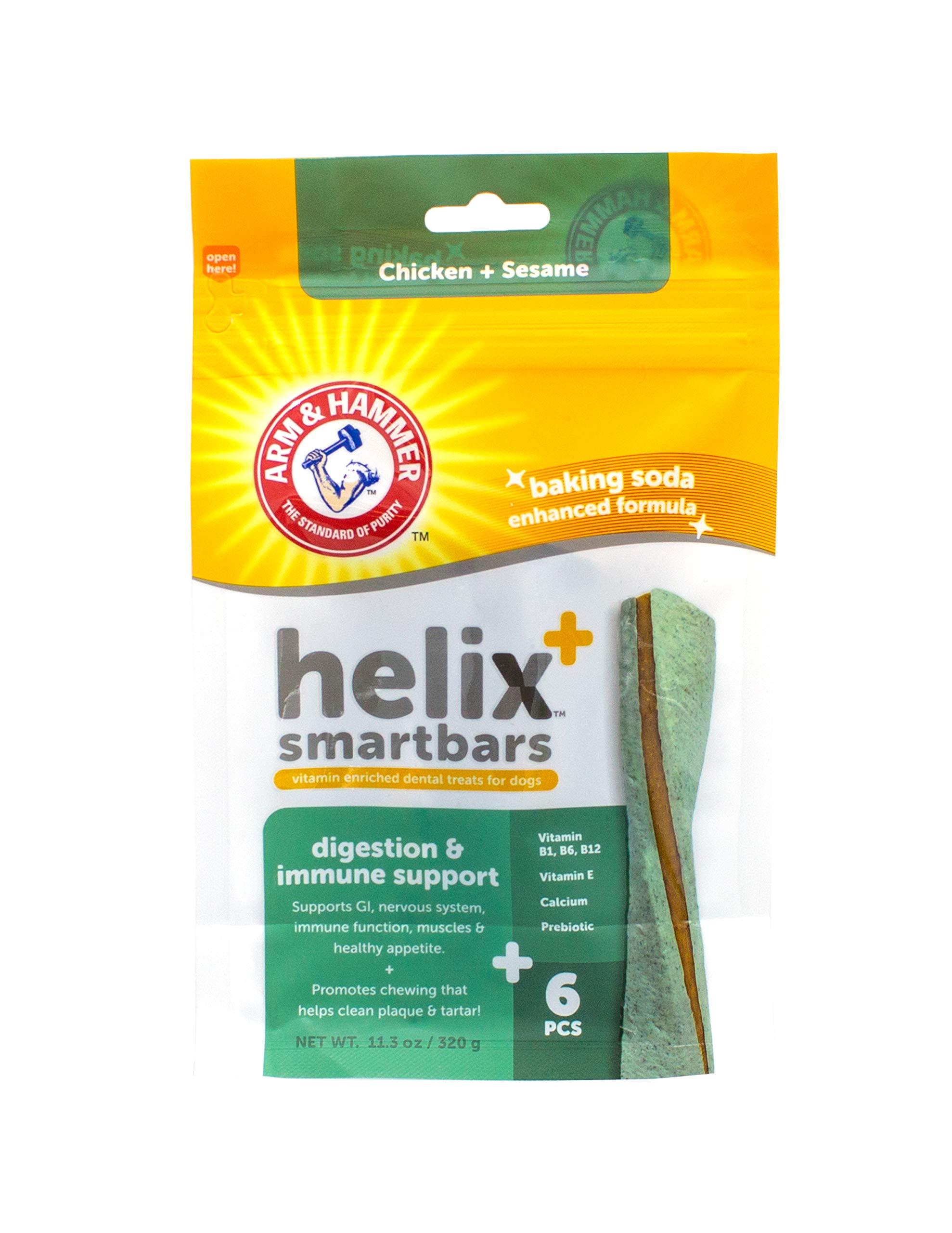 Arm & Hammer for Pets Arm & Hammer Helix SmartBar Dog Dental Chews   Vitamin Enriched Dog Dental Treats   Digestion & Immune Support, Chicken & Sesame, 6 Count