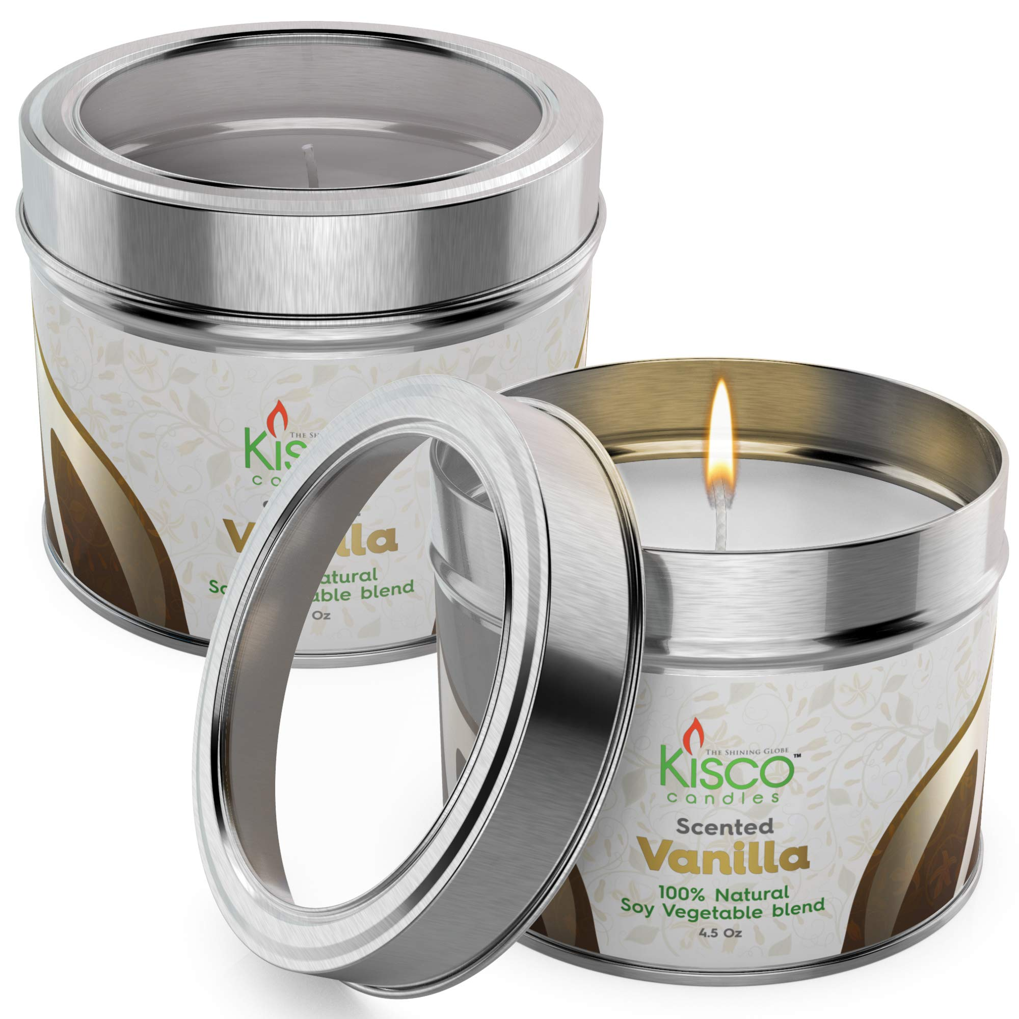 KISCO CANDLES Luxury Scented Candles, 2 Pack – 100% Natural Soy Wax – Beautiful Gift Set Tins – Soothing, Relaxing Light Vanilla Fragrance - Aromatherapy, Decoration, Parties - 4.5oz