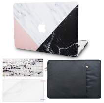 """KECC Laptop Case for Old MacBook Pro 13"""" (CD Drive) w/Keyboard Cover + Sleeve + Screen Protector (4 in 1 Bundle) Plastic Hard Shell Case A1278 (White Marble Pink Black)"""