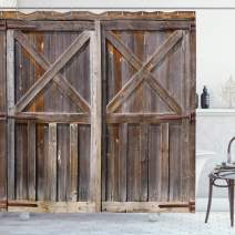 """Ambesonne Rustic Shower Curtain, Old Wooden Barn Door of Farmhouse Oak Countryside Village Board Rural Life Photo Print, Cloth Fabric Bathroom Decor Set with Hooks, 75"""" Long, Brown"""