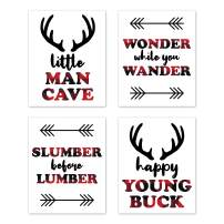 Sweet Jojo Designs Woodland Buffalo Plaid Wall Art Prints Room Decor for Baby, Nursery, and Kids - Set of 4 - Red and Black Rustic Country Deer Lumberjack Arrow Man Cave