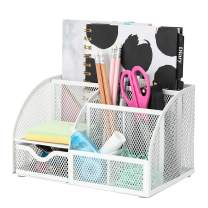 Exerz Mesh Desk Organizer Office with 6 Compartments + Drawer/Desk Tidy Candy/Pen Holder/Multifunctional Organizer Color White (EX348-WHT)