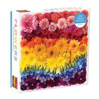 """Galison Rainbow Flowers Jigsaw Puzzle, 500 Pieces, 20""""x20"""" – Features an Array of Flowers and Petals in a Mesmerizing Rainbow of Color – Challenging, Perfect for Family Fun – Fun Indoor Activity"""