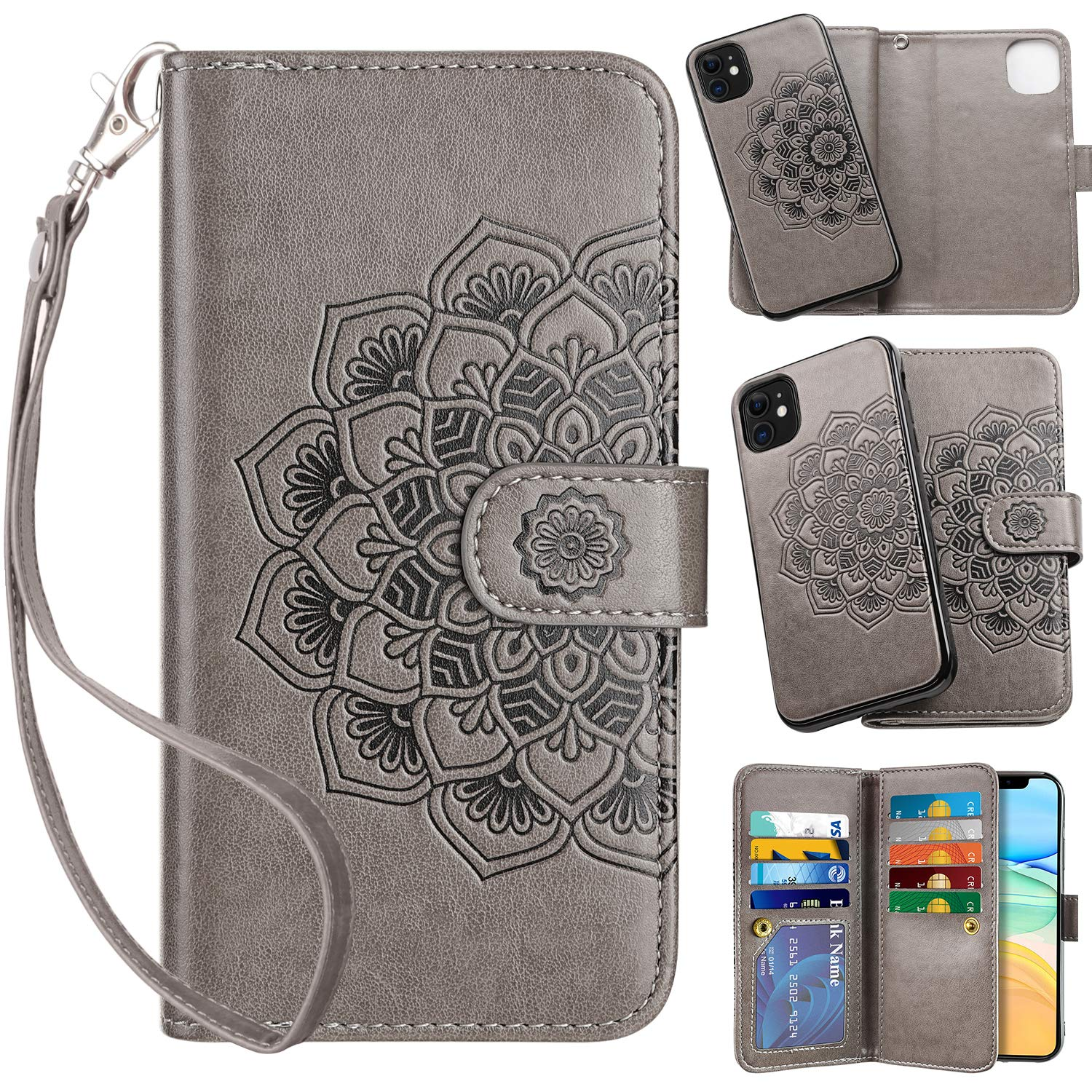 Vofolen 2-in-1 Case for iPhone 11 Case Wallet Credit Card Holder ID Slot Detachable Hybrid Protective Slim Hard Shell Magnetic PU Leather Folio Pocket Flip Cover for iPhone 11 6.1 inch Mandala Grey