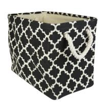 """DII Collapsible Polyester Storage Basket or Bin with Durable Cotton Handles, Home Organizer Solution for Office, Bedroom, Closet, Toys, Laundry (Small – 14x8x9""""), Black Lattice"""