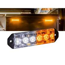 PlanarFlash 6W Amber White LED Flashing Strobe Light Head [Ultra Flat] [SAE Class 1] [72 Flash Mode] [Multi Units Sync-able] [Surface-Mount] Yellow Emergency Grille Police Light for Truck Vehicle