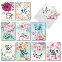 10 Assorted 'Get Well Florals' Note Cards with Envelopes 4 x 5.12 inch, Greeting Cards with Touching Messages of Concern and Beautiful Watercolor Flowers, Get Well Stationery M4214GWG-B1x10