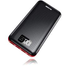 Power Bank 24000mAh Portable Charger Huge Capacity Charge External Battery Pack Dual Inputs & Three Output with LCD Display, Compatible with Smart Phones, Tablet and More(Black-Red)