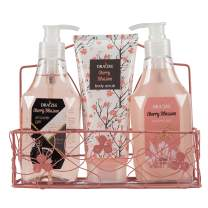 Draizee Cherry Blossom Home Spa Luxurious 3 Piece Relaxation with Lovely Fragrance Gift Basket Set for Women, Girlfriend (Cherry Blosssom, 3 Pieces) - #1 Best Mother's Day Gift for Mom, New Mother