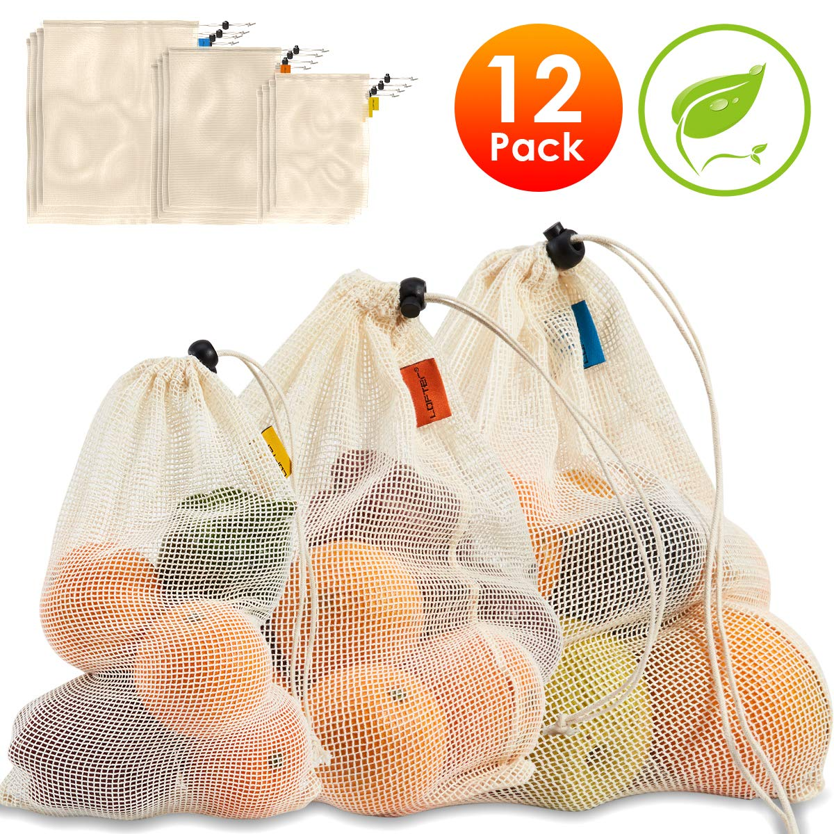 Reusable Produce Bags, LOFTER Cotton Mesh Bags with Tare Weight Tags, Organic Grocery Bags for Shopping & Storage, Washable, Biodegradable, Eco-friendly, Superior Double-Stitched Strength, 12 Pack
