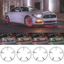 """LEDGlow 4pc 14"""" & 15.5"""" Combo Million Color LED Wheel Ring Accent Light Kit - Fits Wheels with 13.5"""" & 15"""" Brakes - Heavy-Duty & Versatile Design - Waterproof Strip - Includes Control Box & Remote"""