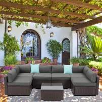 SUNBURY 7-Piece Outdoor Sectional Wicker Sofa in Dark Gray, w 2 Pillows in Psychedelic Colors Elegant Patio Furniture Chair and Table Set for Backyard