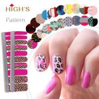 HIGH'S EXTRE ADHESION 20pcs Nail Art Transfer Decals Sticker Pattern Series The Cocktail Collection Manicure DIY Nail Polish Strips Wraps for Wedding,Party,Shopping,Travelling (Leopard)