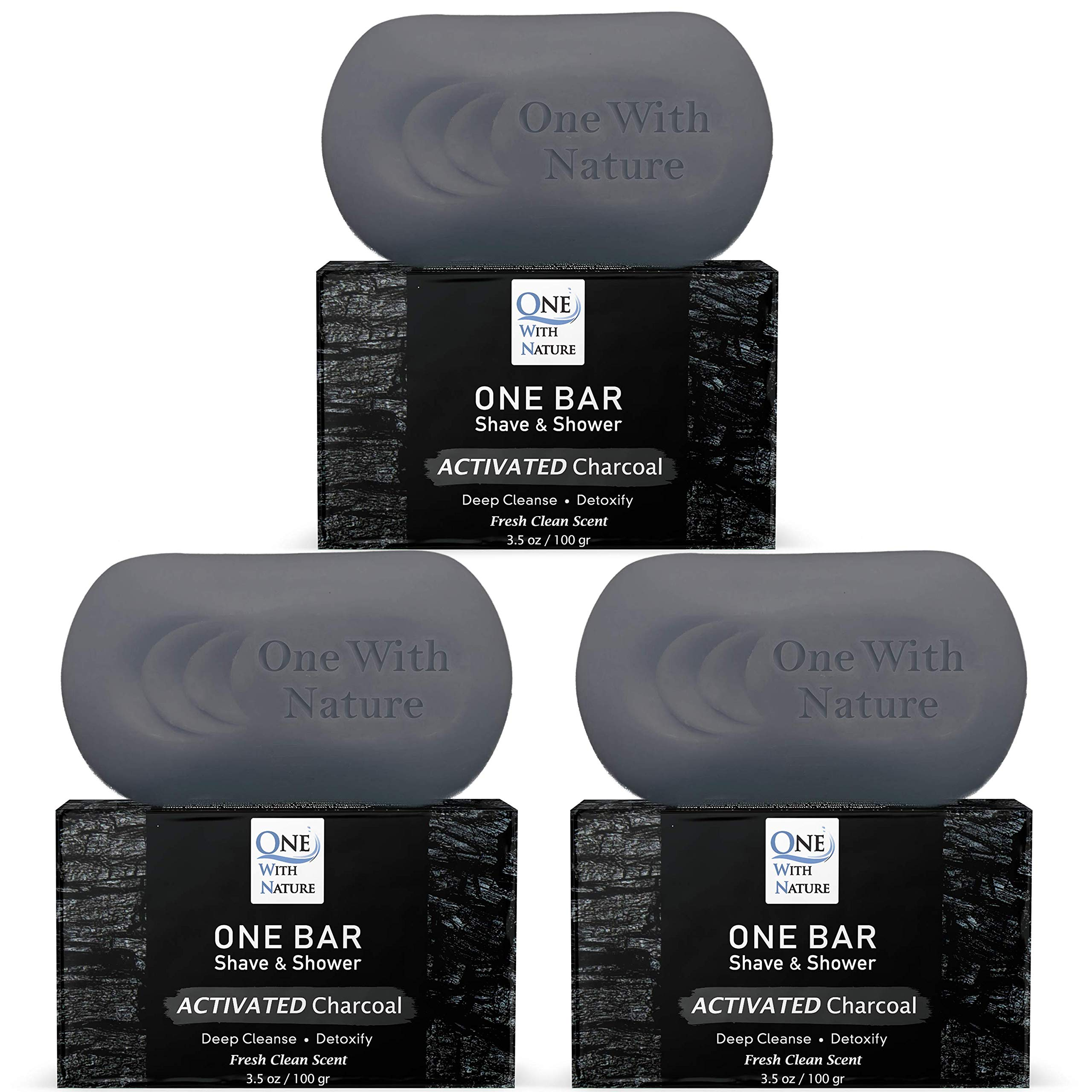 """ONE Bar Activated Charcoal 3 Pack - Shave, Shower, Shampoo, face, beard, body, hair/scalp, SuperFAT """"oil"""" Infused: Avocado, Mango, Olive, Coconut, Argan, Moisturizing and Nourishing Neem Oil."""