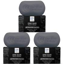 "ONE Bar Activated Charcoal 3 Pack - Shave, Shower, Shampoo, face, beard, body, hair/scalp, SuperFAT ""oil"" Infused: Avocado, Mango, Olive, Coconut, Argan, Moisturizing and Nourishing Neem Oil."