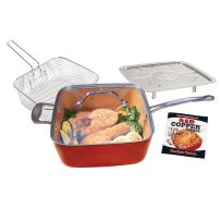 Bulbhead Red Copper Deluxe Square Pan, Deep Fryer, Steamer