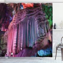 """Ambesonne Natural Cave Shower Curtain, Stalactites Typical Chinese Karst Wonders Deep in Planet Picture, Cloth Fabric Bathroom Decor Set with Hooks, 70"""" Long, Purple Green"""