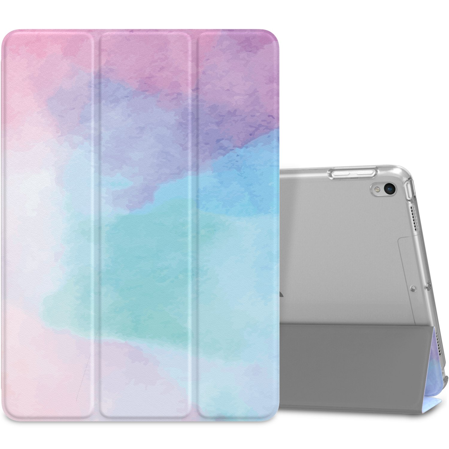 """MoKo Case Fit New iPad Air (3rd Generation) 10.5"""" 2019/iPad Pro 10.5 2017 - Slim Lightweight Smart Shell Stand Cover with Translucent Frosted Back Protector - Water Color (Auto Wake/Sleep)"""