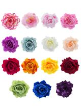 Outus 15 Pieces Rose Flower Hairpin Hair Clip Flower Pin Up Flower Brooch