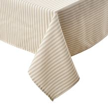 Deconovo Rectangular Tablecloths Water Resistant and Spill-Proof Striped Design Cover Table Cloth for Parties 2 Pieces, 54x72 Inch, White and Beige