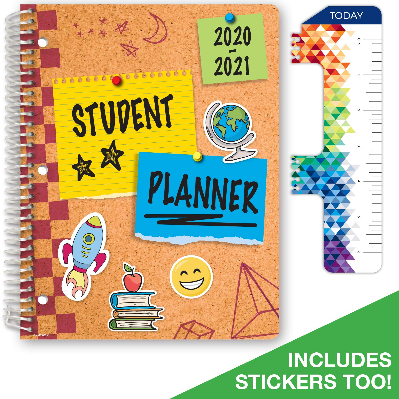"""Dated Elementary Student Planner for Academic Year 2020-2021 (Matrix Style - 8.5""""x11"""" - Corkboard Cover) - Bonus Ruler/Bookmark and Planning Stickers"""