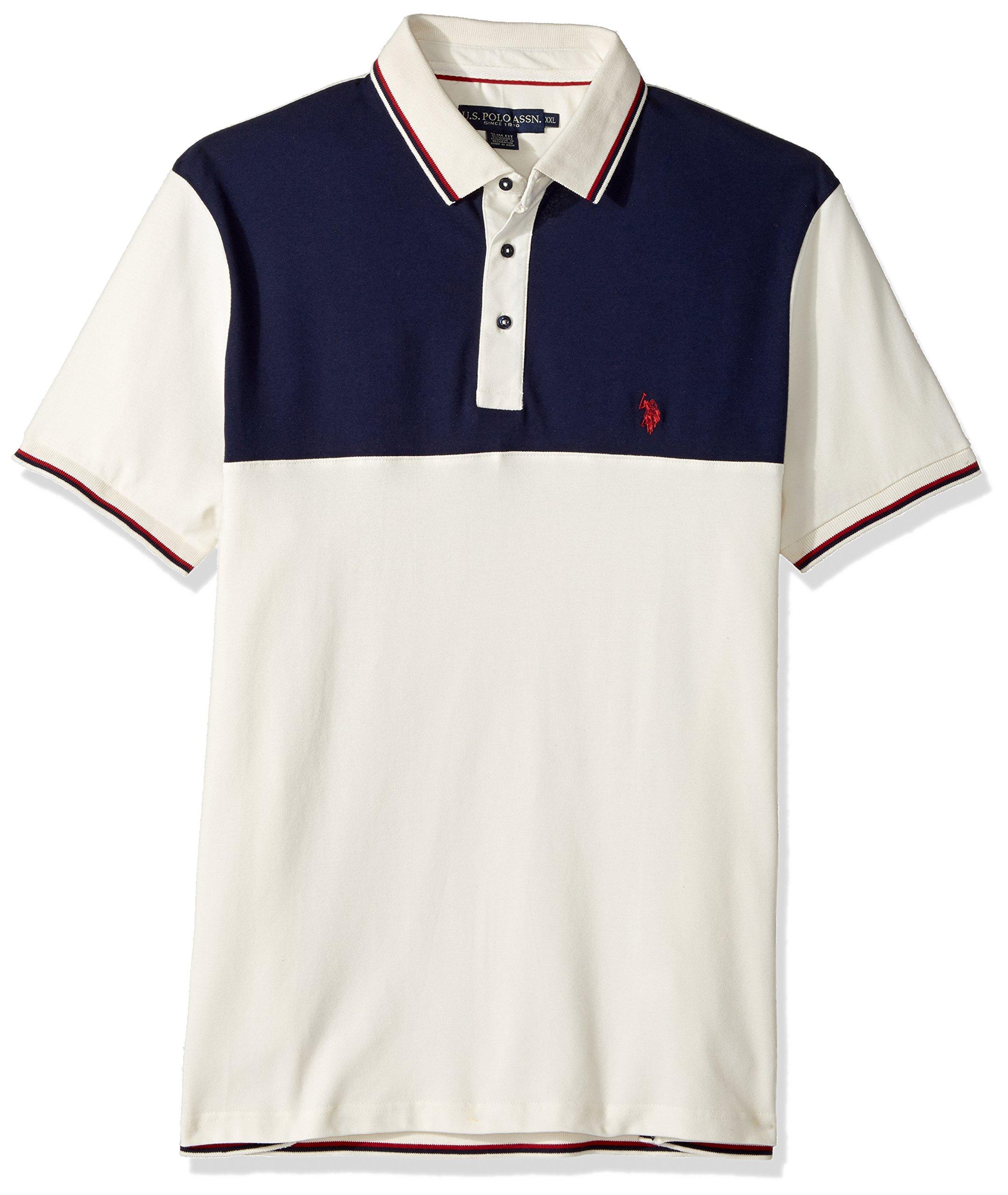U.S. Polo Assn. Men's Slim Fit Color Block Short Sleeve Stretch Pique Polo Shirt