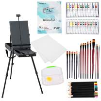 Falling in Art 58 Piece Lightweight French Style Easel Paint Set, 12 Acrylic Colors, 12 Watercolors, Painting Panels, Nylon Brushes, Airtight Palette and More