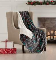 "Great Bay Home Super Soft Fleece Sherpa Holiday Throw Blanket - Cozy, Warm Black Believe in Magic Design Blanket. Eve Collection (50"" x 60"")"