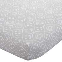 Wendy Bellissimo Nursery Bedding Baby Crib Bedding Fitted Sheet 200 Thread Count - Aztec in Grey + White