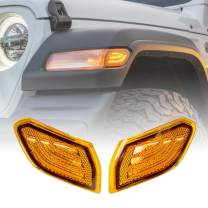 LED Turn Signal Marker Light Replacement for Jeep 2018+ Wrangler JL Gladiator JT [Amber Lens] [Plug-n-Play] [IP67 Waterproof] Corner Light Compatible with Jeep Wrangler JL Gladiator JT Accessories