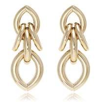 Multi Tubular Artistic Modern Knots Metal with Gold or Silver Plated Stud Statement Earrings