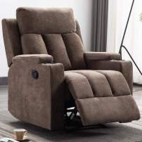 EBELLO Recliner Chair with 2 Cup Holders, Manual Ergonomic Recliner for Living Room Chair Home Theater Seating, Tan