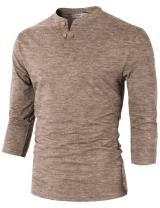 H2H Mens Casual Premium Slim Fit Henley Shirts Lightweight Thin Fabric