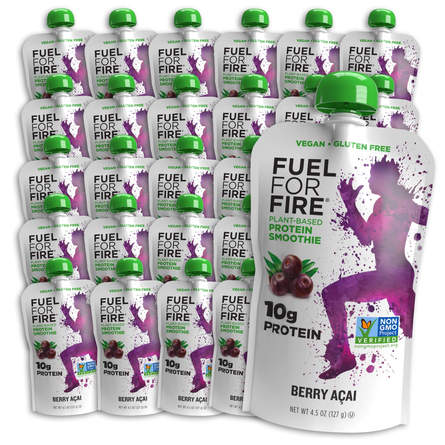 Fuel For Fire VEGAN - Berry Acai Smoothies (24 pack) Ready-to-Drink Squeeze Pouch | Soy Free, Lactose Free, Dairy Free, Plant-based Pea Protein, Vegan, Gluten Free | On the Go
