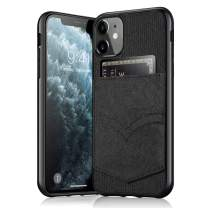 HTGK iPhone 11 Wallet Case, iPhone 11 Credit Card Slot Holder Case, Canvas + Soft Flexible TPU Cover Case for iPhone 11 (2019) 6.1 inch (Black)