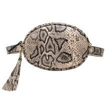 Badiya Snakeskin Fanny Pack for Women Tassel Waist Bag Leather Belt Bag Purse