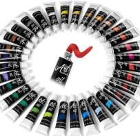 Oil Paint Set - 32 Color Painting Set for Artists, Adults & Kids. Complete Collection of Pigment Rich Oil Based Paints. Professional Art Supplies Kit w/ 12 ml Tube Colors & Bonus Paint Brush :)