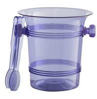 Exquisite 1.5 Quart Hard Plastic Ice Bucket With Tongs- 6 Count- Purple