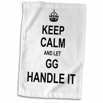 """3D Rose Keep Calm and Let Gg Handle It Fun Funny Grandma Grandmother Gift Hand Towel, 15"""" x 22"""""""