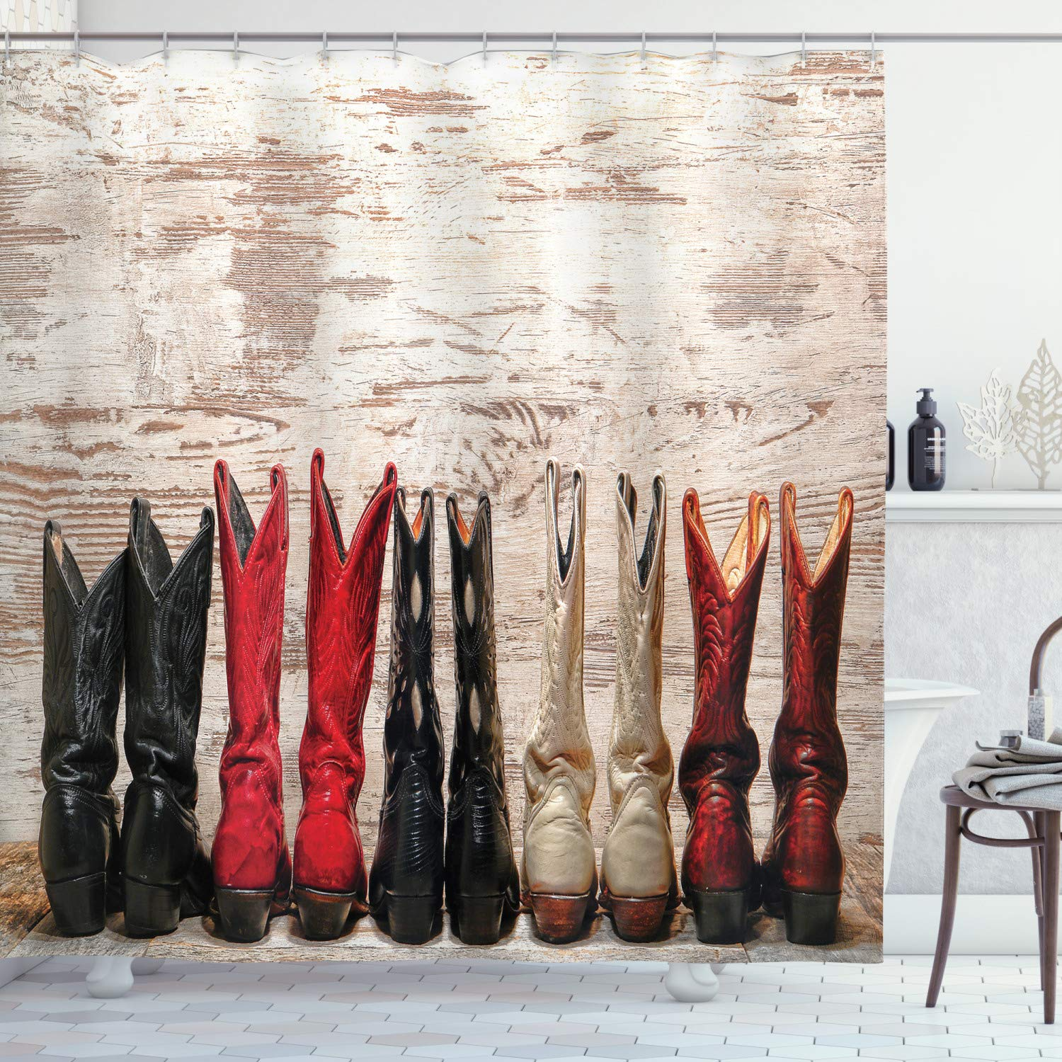 """Ambesonne Western Shower Curtain, American Cowgirl Leather Boots Rustic Wild West Theme Cultural Print, Cloth Fabric Bathroom Decor Set with Hooks, 75"""" Long, Beige Red"""