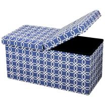 Otto & Ben Folding Toy Box Chest with SMART LIFT Top, Mid Century Upholstered Ottomans Bench Foot Rest, Octagon Blue