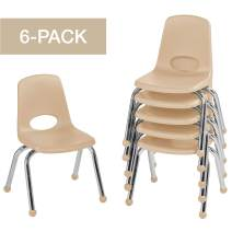 """FDP 12"""" School Stack Chair,Stacking Student Seat with Chromed Steel Legs and Ball Glides; for in-Home Learning or Classroom - Sand (6-Pack)"""