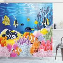 """Ambesonne Fish Shower Curtain, Water Life with Different Kind of Fishes Coral Reefs and Sponges Kids Nursery Theme, Cloth Fabric Bathroom Decor Set with Hooks, 84"""" Long Extra, Blue Orange"""