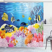 "Ambesonne Fish Shower Curtain, Water Life with Different Kind of Fishes Coral Reefs and Sponges Kids Nursery Theme, Cloth Fabric Bathroom Decor Set with Hooks, 84"" Long Extra, Blue Orange"