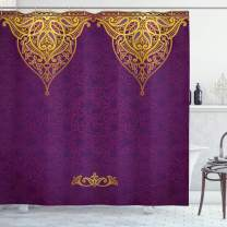 """Ambesonne Purple Shower Curtain, East Oriental Royal Palace Patterns with Bohemian Style Art Traditional Wedding, Cloth Fabric Bathroom Decor Set with Hooks, 70"""" Long, Purple Yellow"""
