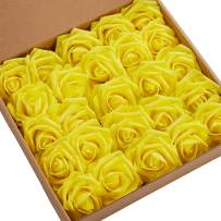 N&T NIETING Roses Artificial Flowers, 50pcs Real Touch Artificial Foam Roses Decoration DIY for Wedding Bridesmaid Bridal Bouquets Centerpieces, Party Decoration, Home Display (50pcs Yellow)