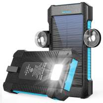 Solar Power Bank 26800mAh, Portable Solar Power Bank with Car Suction Cup Mount,Solar Charger with Dual USB Ports, Ports External Backup Pack with Flashlight for Camping,Solar Panel Charger