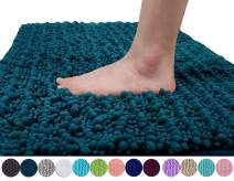 Yimobra Original Luxury Shaggy Bath Mat, Soft and Cozy, Super Absorbent Water, Non-Slip, Machine-Washable, Thick Modern for Bathroom Bedroom (24 x 17 Inch, Peacock Blue)